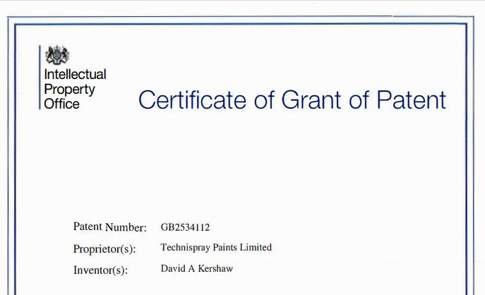 Aquatek, odourless paint, patent certificate